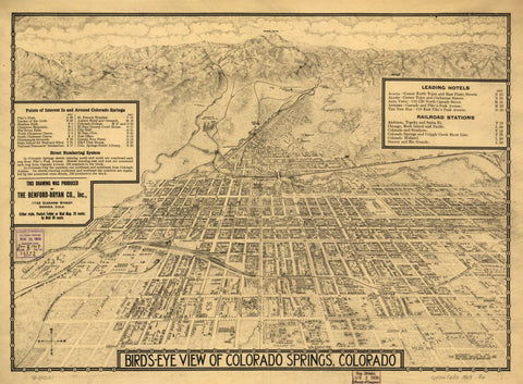 8 x 12 Reproduced Photo of Vintage Old Perspective Birds Eye View Map or Drawing of:  Colorado Springs, Colorado. Benford-Bryan Pub. Co. c1909