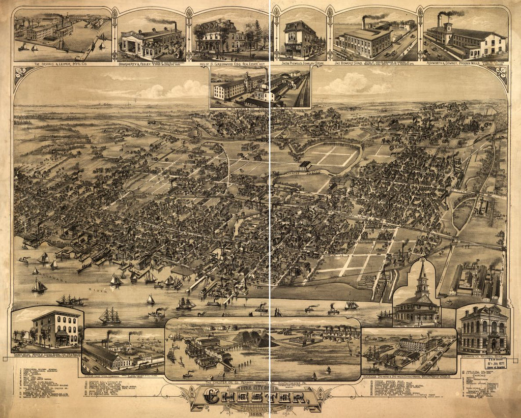 8 x 12 Reproduced Photo of Vintage Old Perspective Birds Eye View Map or Drawing of: Chester, Pennsylvania 1885. O.H. Bailey & Co. 1885