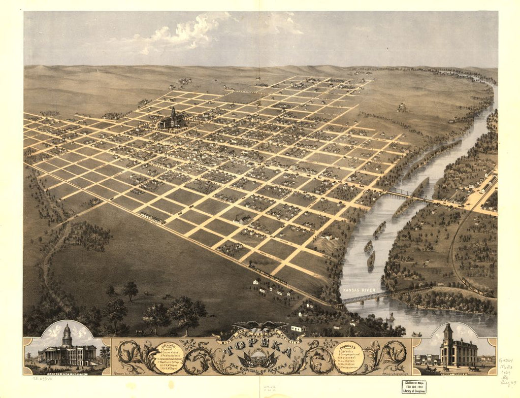 8 x 12 Reproduced Photo of Vintage Old Perspective Birds Eye View Map or Drawing of: Topeka, the capital of Kansas 1869. Ruger, A. 1869
