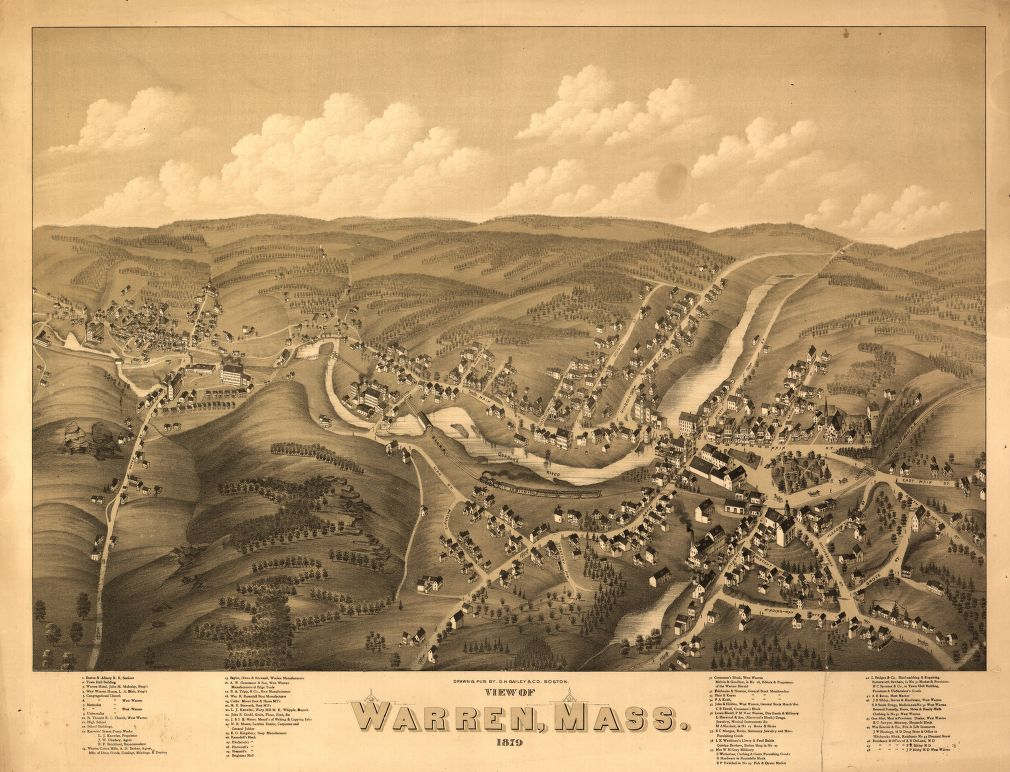 8 x 12 Reproduced Photo of Vintage Old Perspective Birds Eye View Map or Drawing of: Warren, Mass. : 1879  O.H. Bailey & Co.  1879