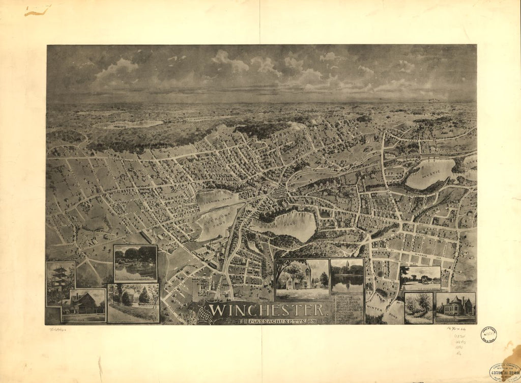 8 x 12 Reproduced Photo of Vintage Old Perspective Birds Eye View Map or Drawing of: Winchester, Massachusetts 1898.   Robbins, A. - Heliotype Printing Company - Robbins & Enrich  1898