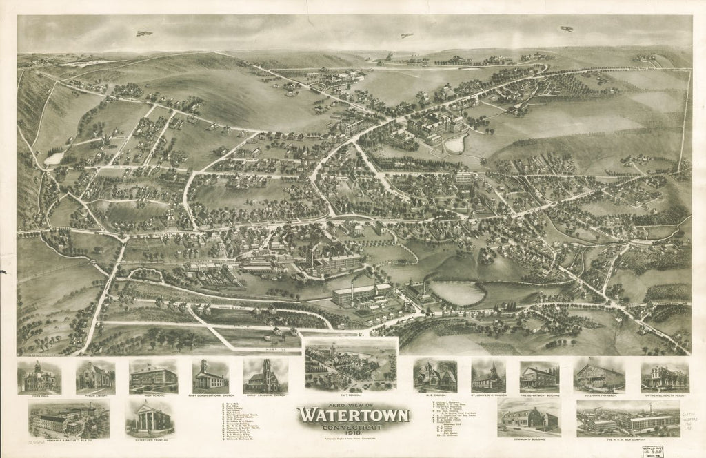 8 x 12 Reproduced Photo of Vintage Old Perspective Birds Eye View Map or Drawing of: Watertown, Connecticut 1918.  Hughes & Bailey  1918