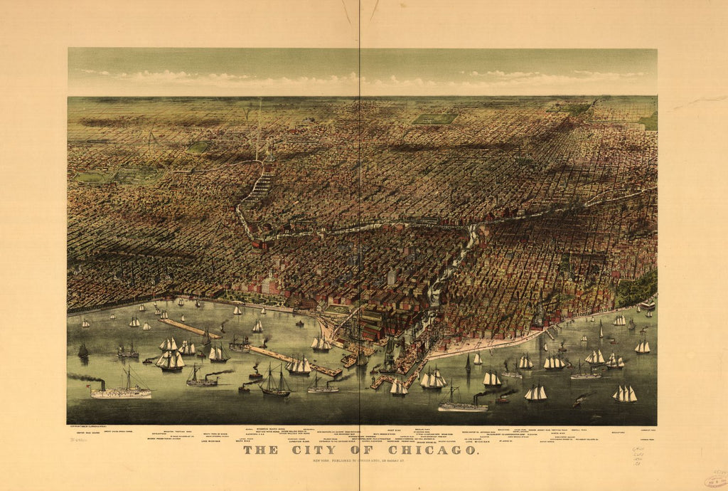8 x 12 Reproduced Photo of Vintage Old Perspective Birds Eye View Map or Drawing of: Chicago. Currier & Ives. c1892