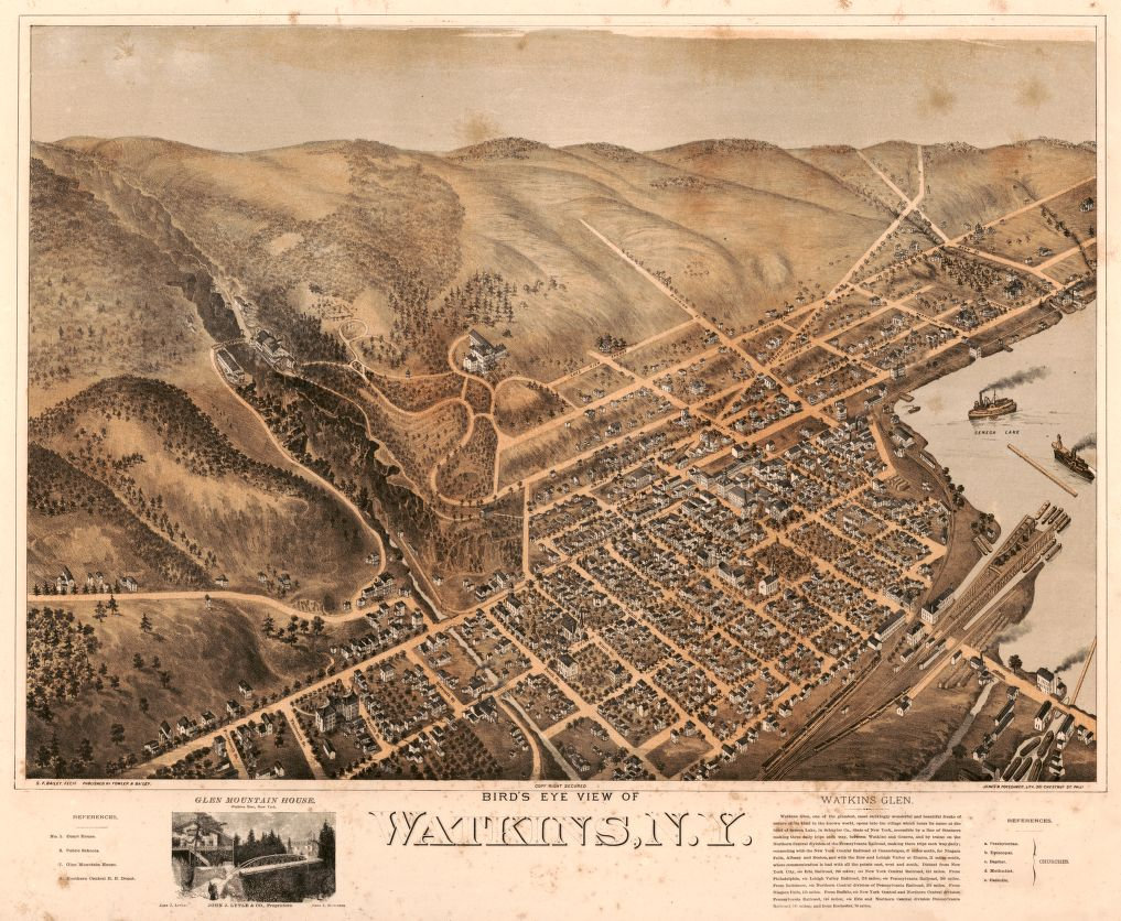 8 x 12 Reproduced Photo of Vintage Old Perspective Birds Eye View Map or Drawing of: Watkins, N.Y. Bailey, S. F. - Fowler & Bailey - Jones & Potsdamer 1873