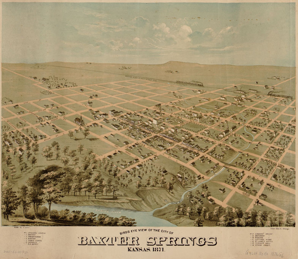 8 x 12 Reproduced Photo of Vintage Old Perspective Birds Eye View Map or Drawing of: Baxter Springs, Kansas, 1871 Glover, E. S. (Eli Sheldon), 1844-1920. 1871
