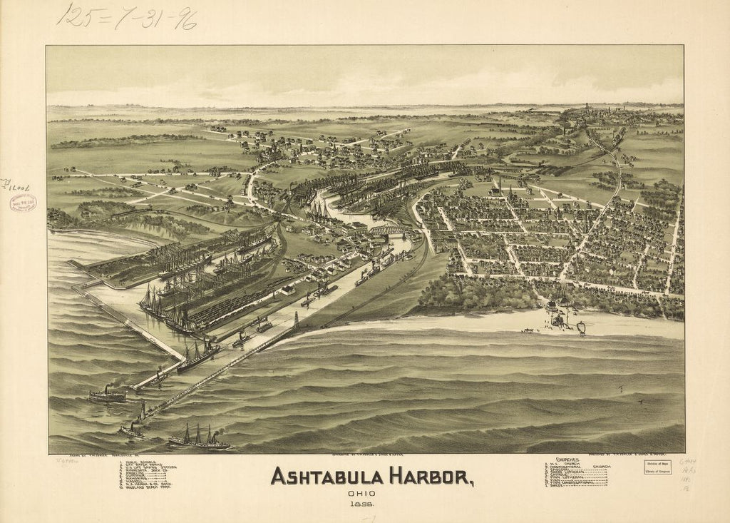 8 x 12 Reproduced Photo of Vintage Old Perspective Birds Eye View Map or Drawing of: Ashtabula Harbor, Ohio 1896. Fowler, T. M. (Thaddeus Mortimer 1896