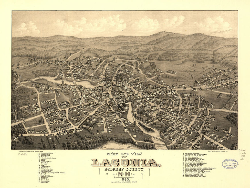 8 x 12 Reproduced Photo of Vintage Old Perspective Birds Eye View Map or Drawing of: Laconia, Belknap County, N.H. 1883.  Poole & Norris - Beck & Pauli  1883