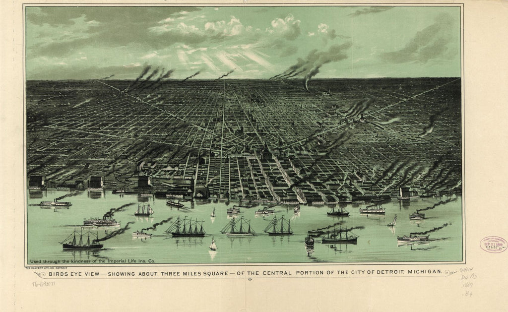 8 x 12 Reproduced Photo of Vintage Old Perspective Birds Eye View Map or Drawing of: view--showing about three miles square--of the central portion of Detroit, Michigan. Calvert Lithographing Co. 1889?