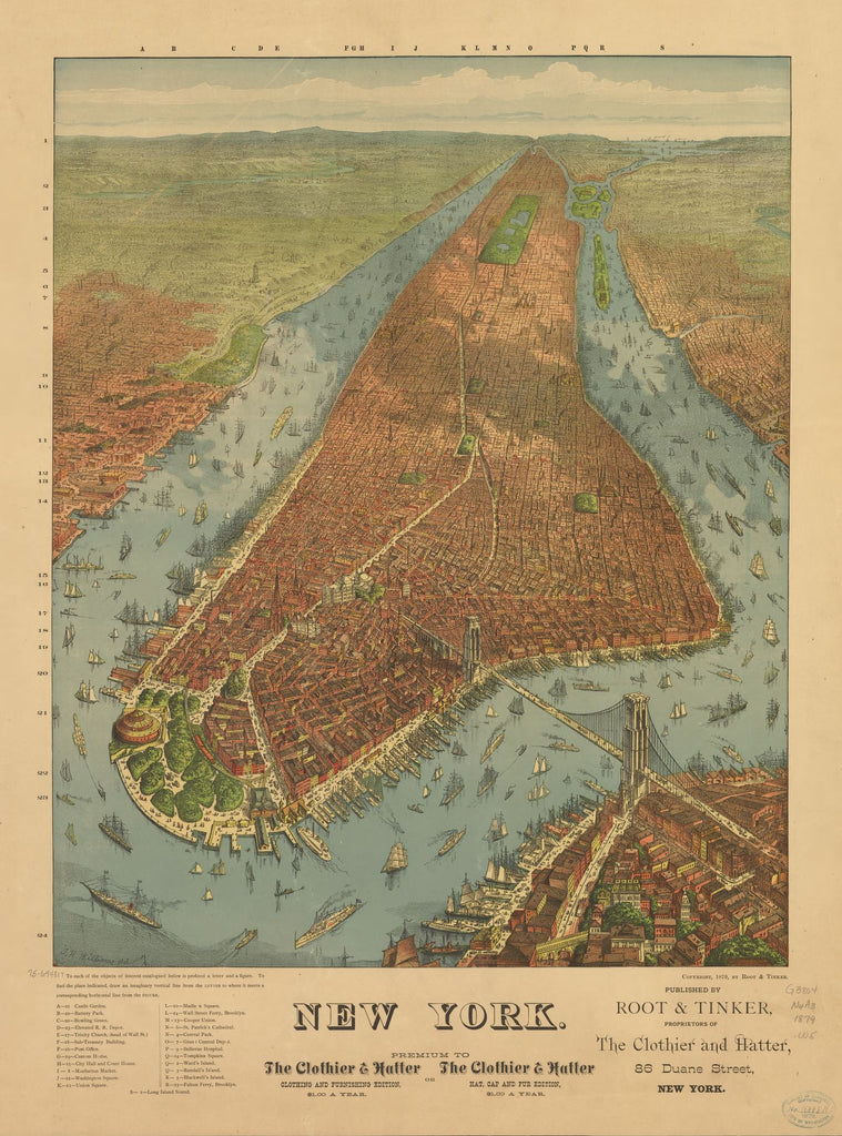 8 x 12 Reproduced Photo of Vintage Old Perspective Birds Eye View Map or Drawing of: New York. Williams, J. W. - Root & Tinker 1879