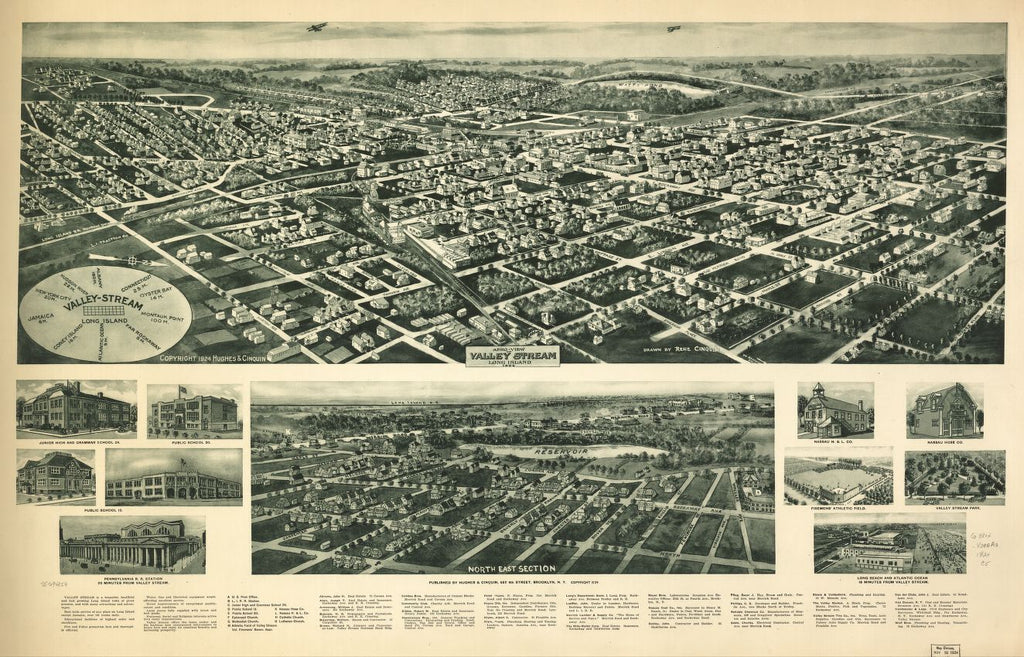 8 x 12 Reproduced Photo of Vintage Old Perspective Birds Eye View Map or Drawing of: Valley Stream, Long Island 1924. Cinquin, Rene - Hughes & Cinquin 1924