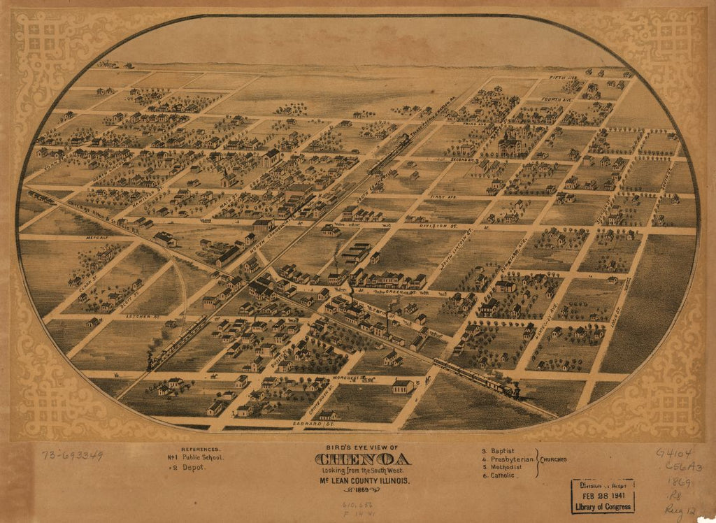 8 x 12 Reproduced Photo of Vintage Old Perspective Birds Eye View Map or Drawing of: Chenoa, McLean County, Illinois 1869. Ruger, A. 1869