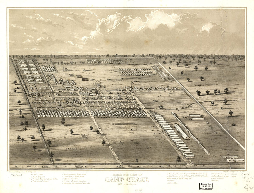 8 x 12 Reproduced Photo of Vintage Old Perspective Birds Eye View Map or Drawing of: Camp Chase near Columbus, Ohio. Ruger, A. 186