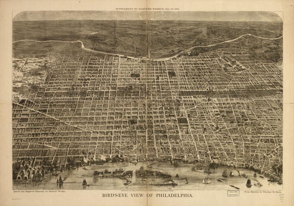 8 x 12 Reproduced Photo of Vintage Old Perspective Birds Eye View Map or Drawing of: Philadelphia. Davis, Theodore R. - Harper & Brothers 1872