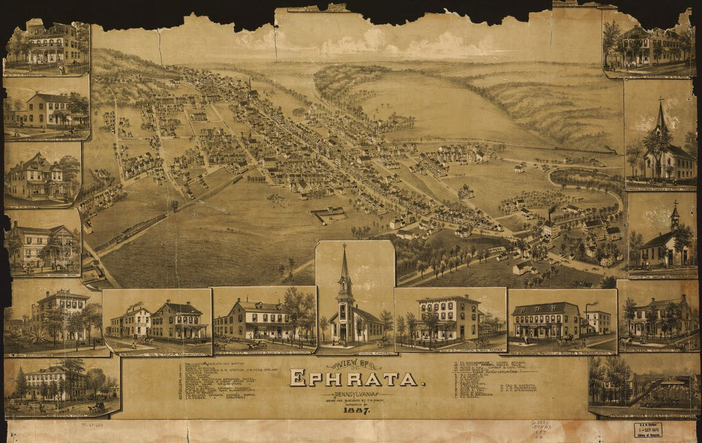 8 x 12 Reproduced Photo of Vintage Old Perspective Birds Eye View Map or Drawing of: Ephrata, Pennsylvania. Fowler, T. M. - Fowler, T. M. 1887