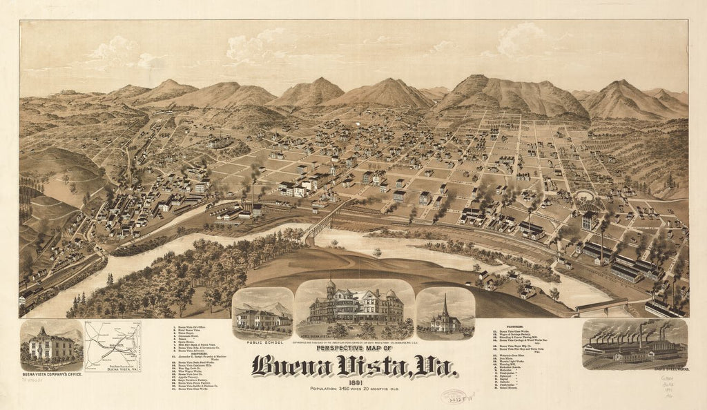 8 x 12 Reproduced Photo of Vintage Old Perspective Birds Eye View Map or Drawing of: Buena Vista, Va. 1891. American Publishing Co. (Milwaukee, Wis.) 1891