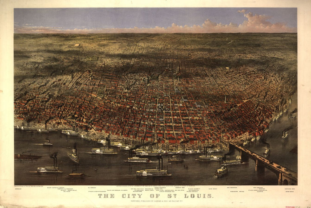 8 x 12 Reproduced Photo of Vintage Old Perspective Birds Eye View Map or Drawing of: St. Louis / sketched & drawn on stone by Parsons & Atwater. Currier & Ives 1874