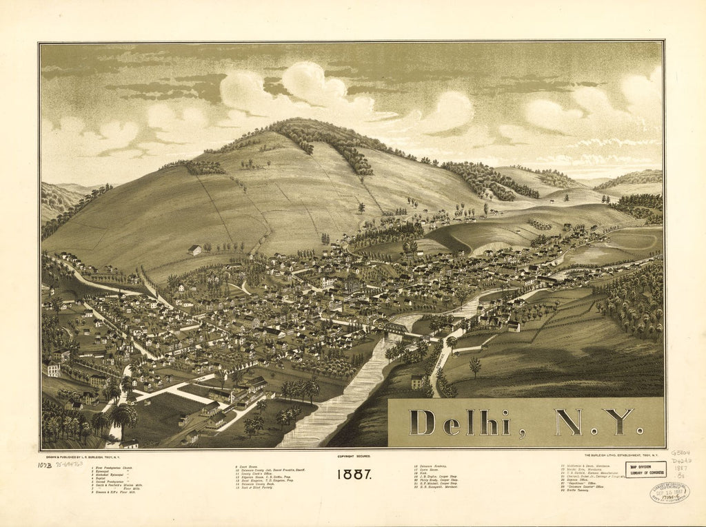 8 x 12 Reproduced Photo of Vintage Old Perspective Birds Eye View Map or Drawing of: Delhi, N.Y. 1887.  Burleigh, L. R. (Lucien R.) - Burleigh Litho - Burleigh, L. R.  1887