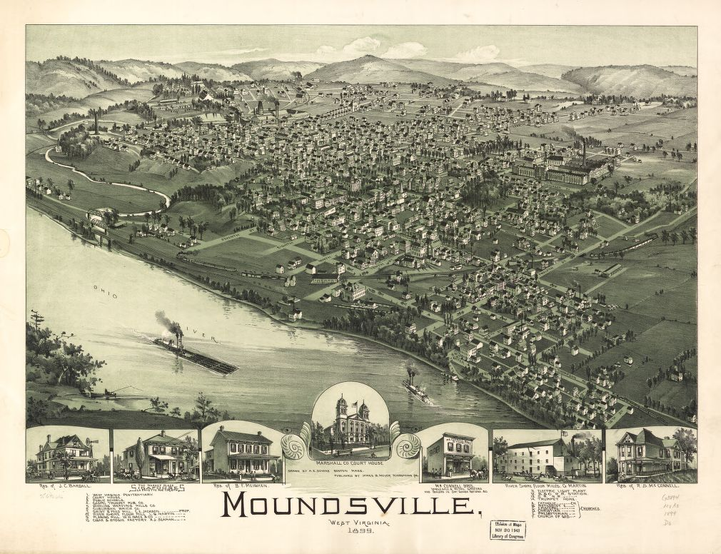 8 x 12 Reproduced Photo of Vintage Old Perspective Birds Eye View Map or Drawing of: Moundsville, West Virginia 1899. Downs, A. E. (Albert E.)Moyer, James B. 1899