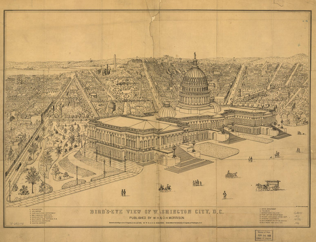 8 x 12 Reproduced Photo of Vintage Old Perspective Birds Eye View Map or Drawing of:  Washington City, D.C. Morrison, George A. 1872
