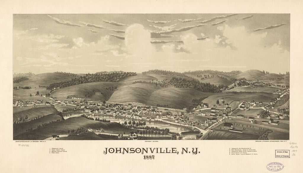 8 x 12 Reproduced Photo of Vintage Old Perspective Birds Eye View Map or Drawing of: Johnsonville, N.Y. 1887. Burleigh, L. R. (Lucien R.) - Burleigh Litho - Burleigh, L. R. 1887