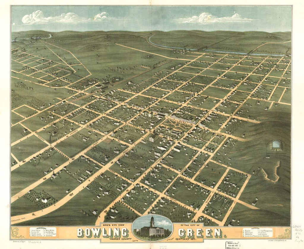 8 x 12 Reproduced Photo of Vintage Old Perspective Birds Eye View Map or Drawing of: Bowling Green, Warren County, Kentucky 1871. Ruger, A.Chicago Lithographing Co. 1871