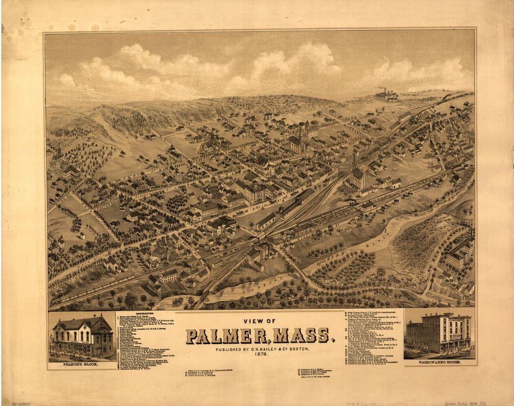 8 x 12 Reproduced Photo of Vintage Old Perspective Birds Eye View Map or Drawing of: Palmer, Mass.  O.H. Bailey & Co.  1879