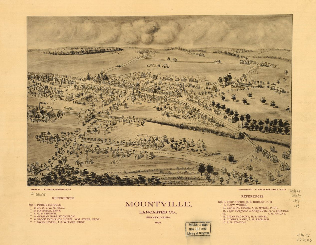 8 x 12 Reproduced Photo of Vintage Old Perspective Birds Eye View Map or Drawing of: Mountville, Lancaster Co., Pennsylvania 1894. Fowler, T. M. - Moyer, James - Fowler, T. M. 1894