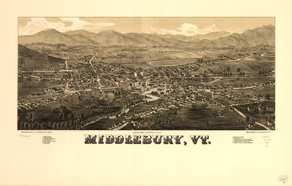 8 x 12 Reproduced Photo of Vintage Old Perspective Birds Eye View Map or Drawing of: Middlebury, Vt.  Burleigh, L. R. (Lucien R.) - Beck & Pauli - Burleigh, L. R.  1886