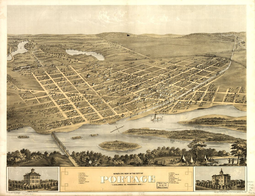 8 x 12 Reproduced Photo of Vintage Old Perspective Birds Eye View Map or Drawing of: Portage, Columbia Co., Wisconsin 1868. Ruger, A. 1868