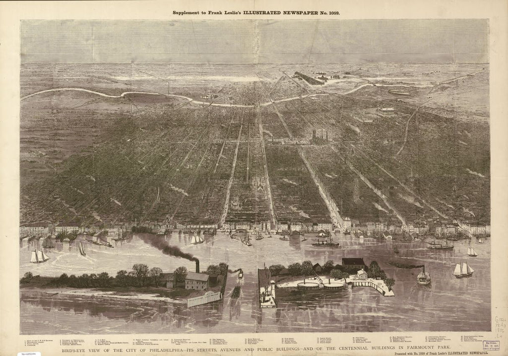 8 x 12 Reproduced Photo of Vintage Old Perspective Birds Eye View Map or Drawing of: Bird's-eye Philadelphia --its streets, avenues, and public buildings--and of the Centennial buildings in Fairmount Park. Leslie, Frank 1876