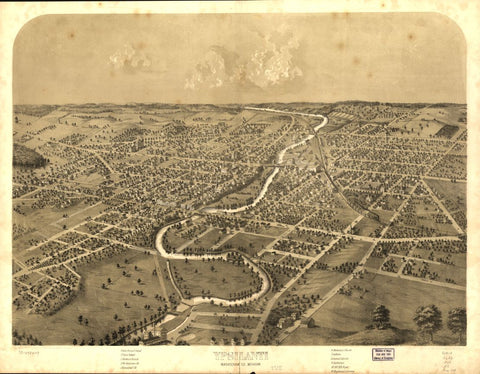 8 x 12 Reproduced Photo of Vintage Old Perspective Birds Eye View Map or Drawing of: Ypsilanti, Washtenaw Co., Michigan. Ruger, A. 1868?