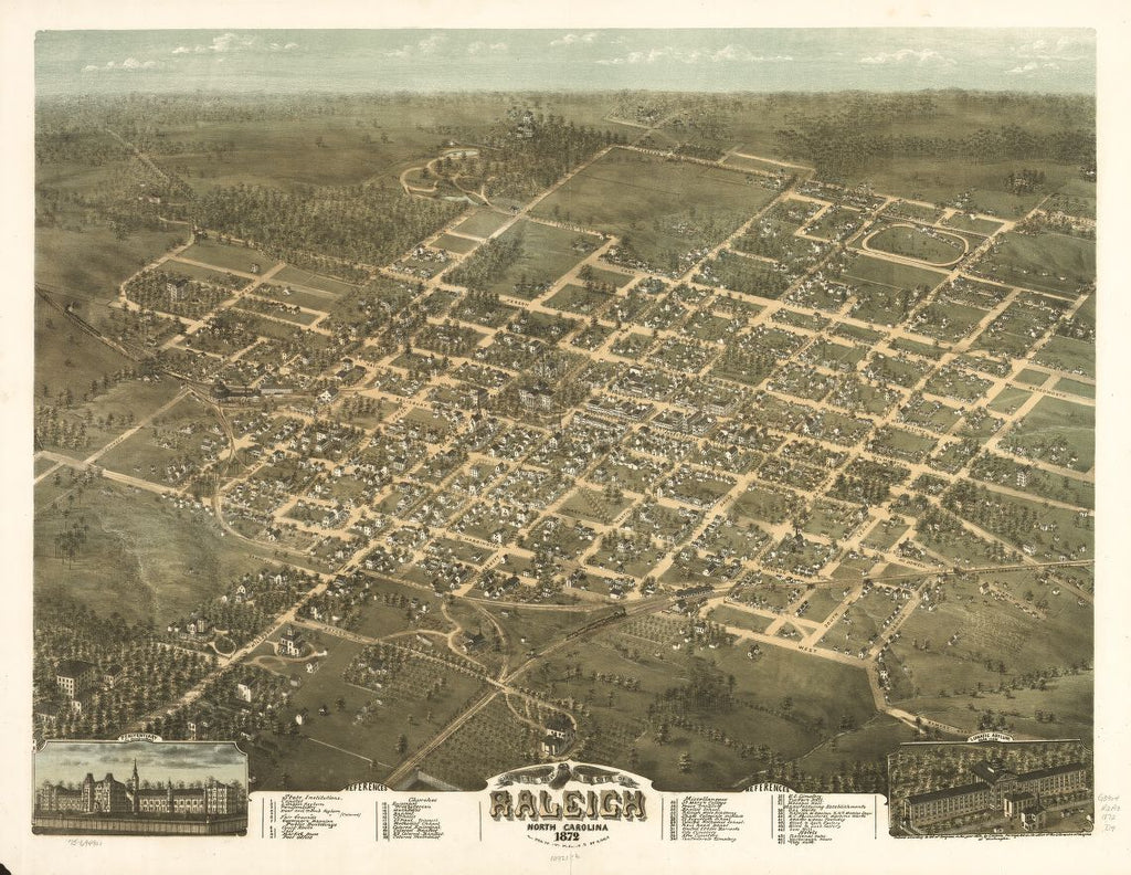 8 x 12 Reproduced Photo of Vintage Old Perspective Birds Eye View Map or Drawing of: Raleigh, North Carolina 1872. Drie, C. N. 1872