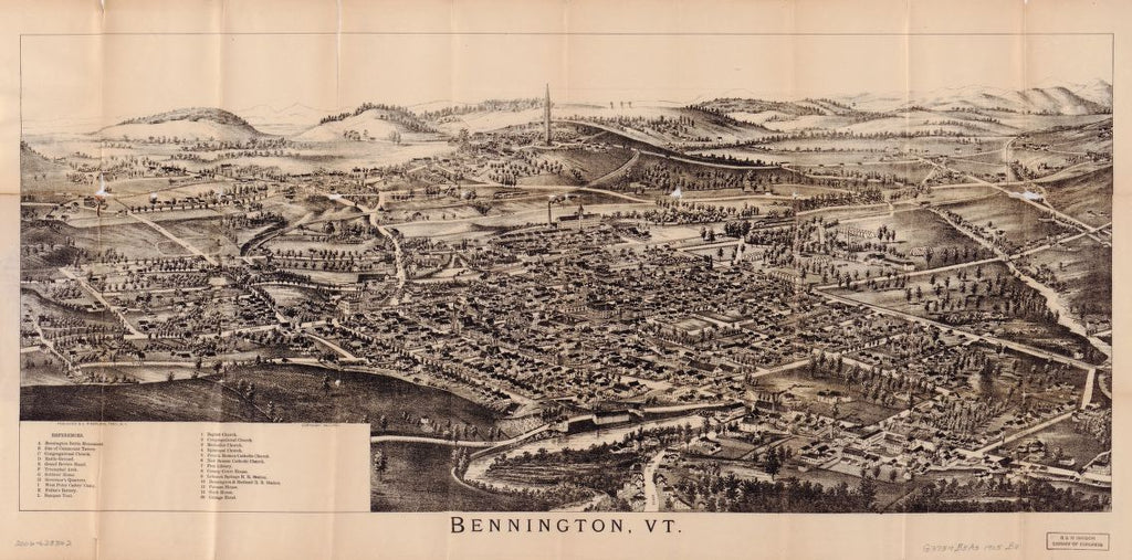 8 x 12 Reproduced Photo of Vintage Old Perspective Birds Eye View Map or Drawing of: Folded bird's-eye Bennington, VT. : showing all points of interest.  Burleigh, L. R. (Lucien R.) - Burleigh, L. R.  1905
