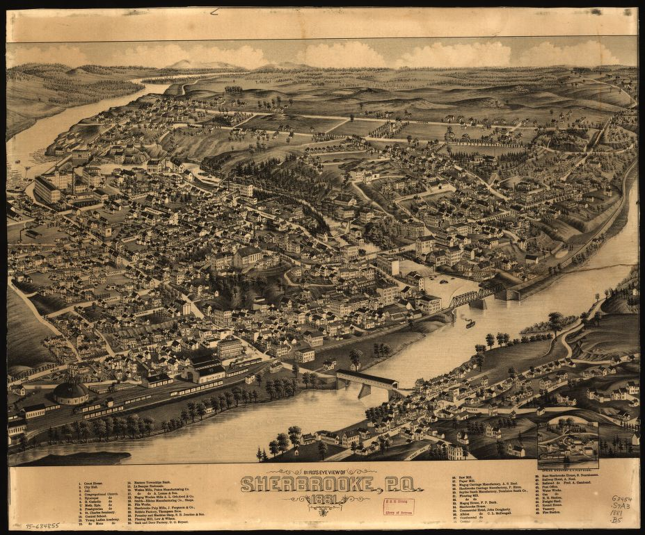 8 x 12 Reproduced Photo of Vintage Old Perspective Birds Eye View Map or Drawing of: Sherbrooke, P.Q.  None 1881