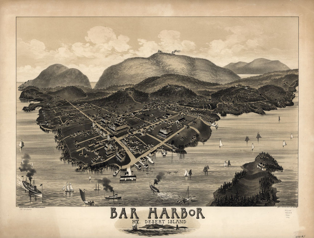 8 x 12 Reproduced Photo of Vintage Old Perspective Birds Eye View Map or Drawing of: Bar Harbor, Mt. Desert Island, Maine.   Morris, G. W., Portland, Me., Pu - Geo. H. Walker & Co. 1886