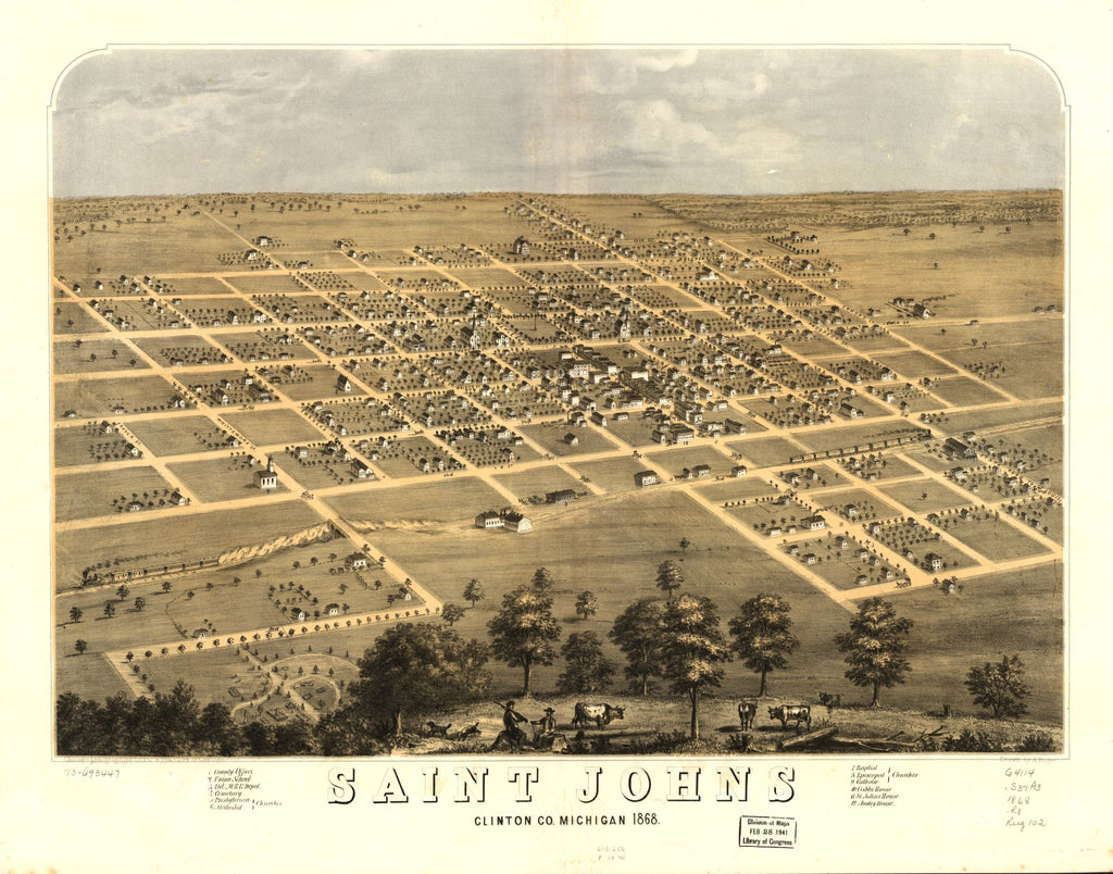 8 x 12 Reproduced Photo of Vintage Old Perspective Birds Eye View Map or Drawing of: Saint Johns, Clinton Co., Michigan 1868. Ruger, A. 1868