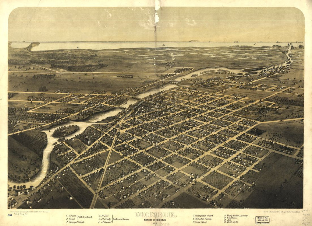 8 x 12 Reproduced Photo of Vintage Old Perspective Birds Eye View Map or Drawing of: Monroe, Monroe Co., Michigan 1866. Ruger, A. 1866