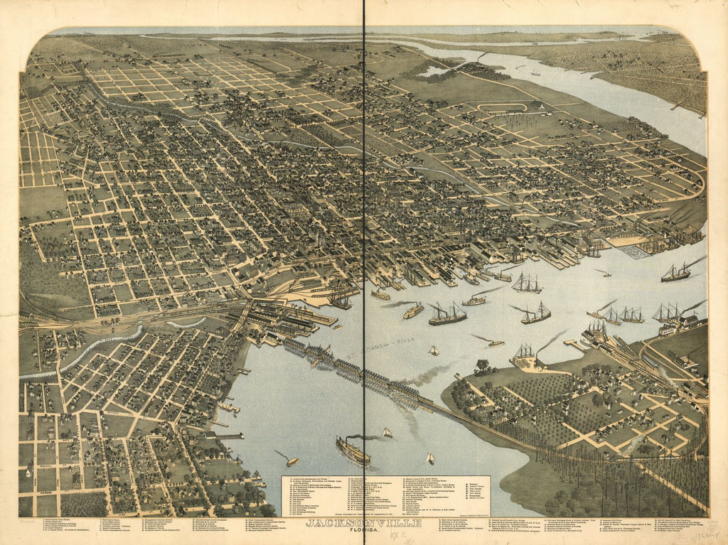 8 x 12 Reproduced Photo of Vintage Old Perspective Birds Eye View Map or Drawing of: Jacksonville, Florida. Koch, Augustus, 1840-Hudson-Kimberly Pub. Co. 1893