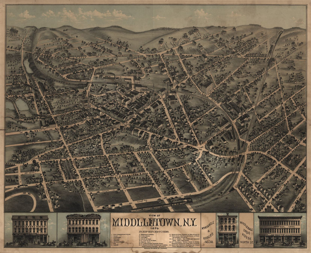 8 x 12 Reproduced Photo of Vintage Old Perspective Birds Eye View Map or Drawing of: Middletown, N.Y. : 1874. American Oleograph Co. 1874