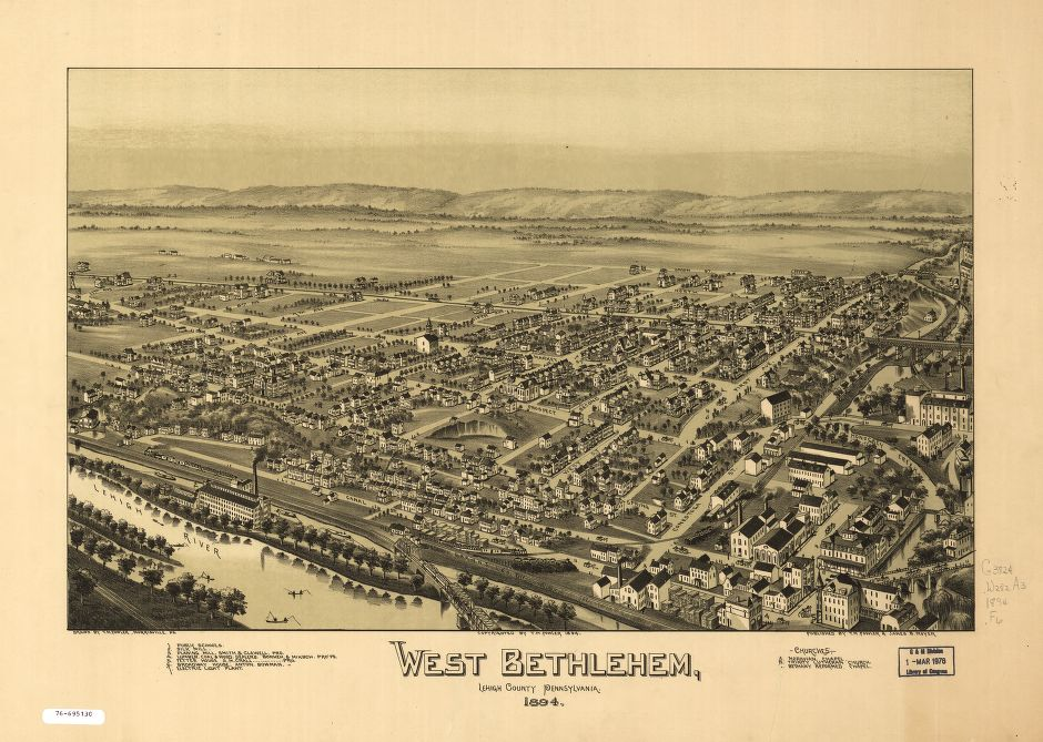 8 x 12 Reproduced Photo of Vintage Old Perspective Birds Eye View Map or Drawing of: West Bethlehem, Lehigh County, Pennsylvania.  Fowler, T. M. - Moyer, James - Fowler, T. M.  1894