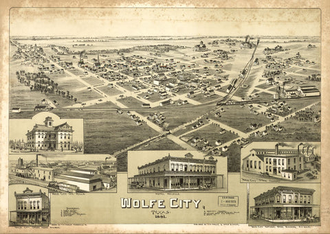 8 x 12 Reproduced Photo of Vintage Old Perspective Birds Eye View Map or Drawing of: Wolfe City, Texas 1891. Fowler, T. M. (Thaddeus Mortimer 1891