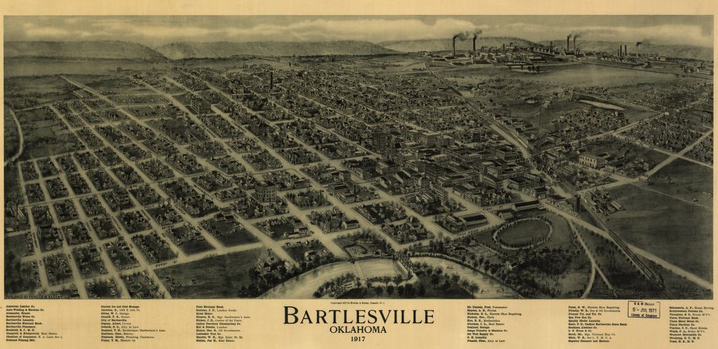 8 x 12 Reproduced Photo of Vintage Old Perspective Birds Eye View Map or Drawing of: Bartlesville, Oklahoma 1917 Fowler, T. M. (Thaddeus Mortimer), 1842-1922.Fowler & Kelly. c1917.