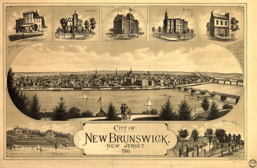 8 x 12 Reproduced Photo of Vintage Old Perspective Birds Eye View Map or Drawing of: New Brunswick, New Jersey / Packard & Butler Lith. Philada none 1880