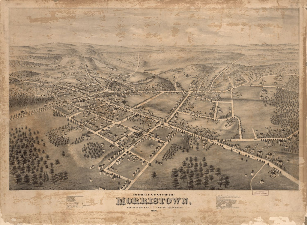8 x 12 Reproduced Photo of Vintage Old Perspective Birds Eye View Map or Drawing of: Morristown, Morris Co., New Jersey Fowler, T. M. - Fowler & Bulger - C.H. Vogt (Firm) - Fowler, T. M. 1876
