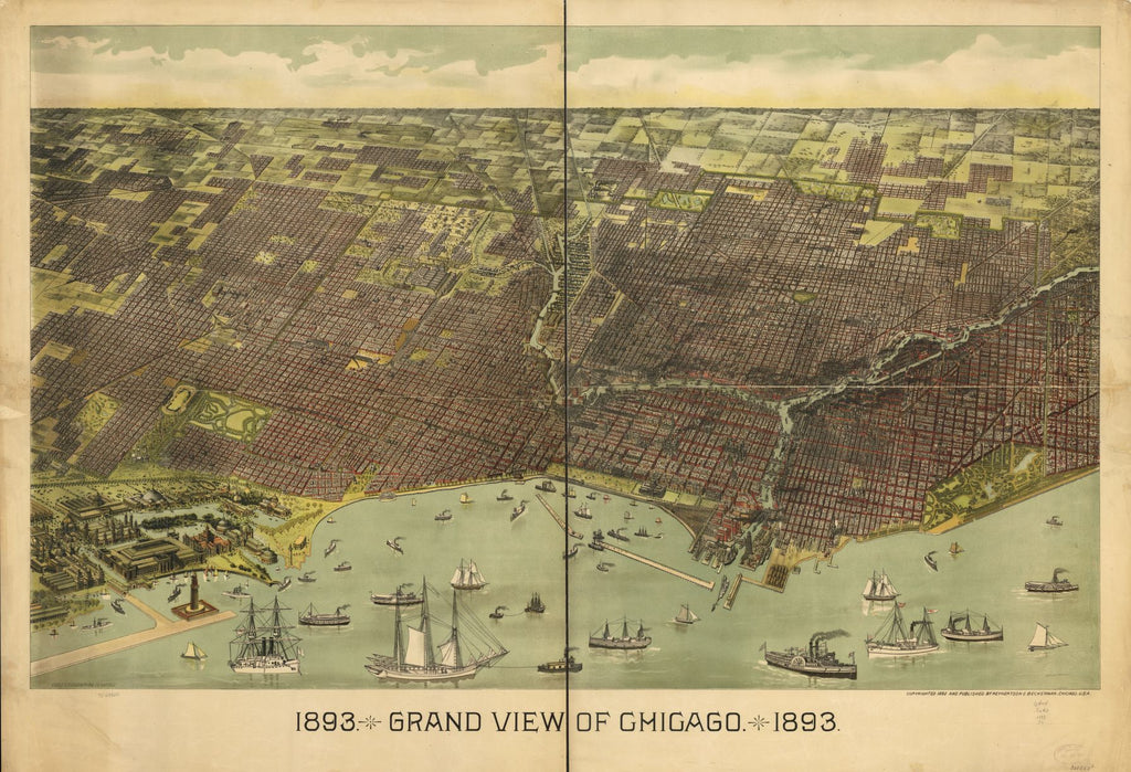8 x 12 Reproduced Photo of Vintage Old Perspective Birds Eye View Map or Drawing of: 1893 grand Chicago. Treutlein, Th. c1892