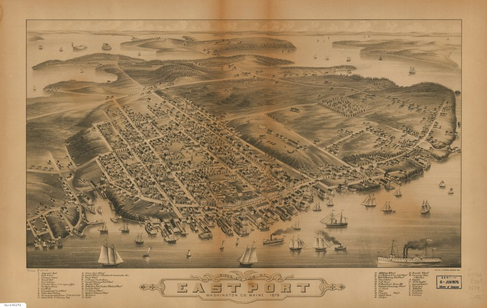 8 x 12 Reproduced Photo of Vintage Old Perspective Birds Eye View Map or Drawing of: Eastport, Washington Co., Maine.  Stoner, J. J.  1879