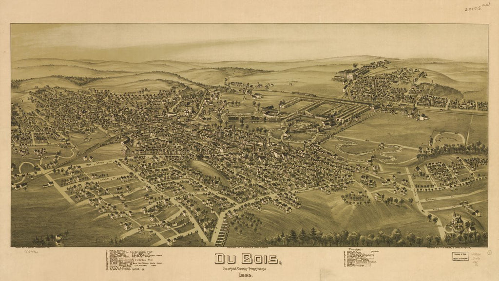 8 x 12 Reproduced Photo of Vintage Old Perspective Birds Eye View Map or Drawing of: Du Bois, Clearfield County, Pennsylvania, 1895. Fowler, T. M. - Moyer, James - Fowler, T. M. 1895
