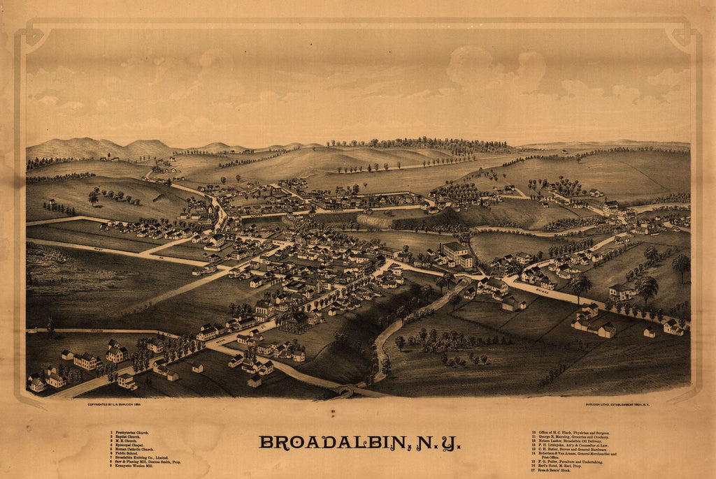 8 x 12 Reproduced Photo of Vintage Old Perspective Birds Eye View Map or Drawing of: Broadalbin, N.Y.  Burleigh, L. R. (Lucien R.) - Burleigh Litho - Burleigh, L. R 1880