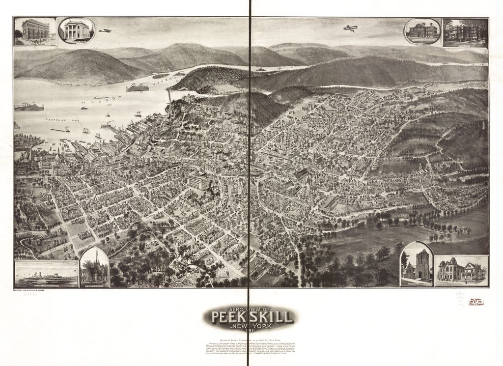 8 x 12 Reproduced Photo of Vintage Old Perspective Birds Eye View Map or Drawing of: Peekskill, New York 1911. Hughes & Fowler - Hughes & Bailey 1911