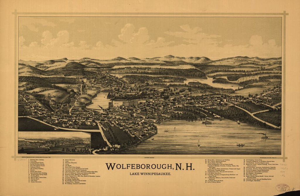 8 x 12 Reproduced Photo of Vintage Old Perspective Birds Eye View Map or Drawing of: Wolfeborough, N.H., Lake Winnipesaukee.  Norris, George E. - Burleigh Litho  1889